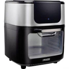 Princess 01.182070.01.001 Mini-oven 1800 W Heteluchtfunctie, Met display Zwart, Zilver